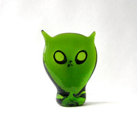Mid Century Hand Blown Green Glass Owl. 50s Glass owl. Paperweight Owl.