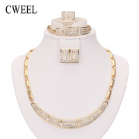 CWEEL Fashion Necklace Earrings Bracelet Ring Gold Color Jewelry Sets For Women Wedding Imitation Crystal Holiday Accessories