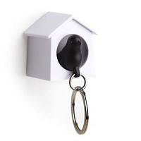 Mini Sparrow Key Ring Holder (white/black)
