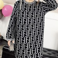 FENDI Newest Trending Women Stylish Full F Letter Long Sleeve Round Collar Knit Dress Black