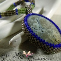 Chrysocolla Beadwoven Necklace - Blue and Green Krafty Max Original