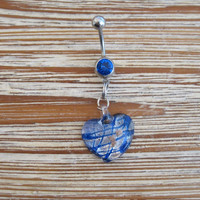Belly Button Ring - Body Jewelry -Blue & Silver Glass Heart with Dark Blue Gem Stone Belly Button Ring