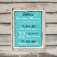 Bridal Shower Sign Custom Printable Dates to Remember Bridal Shower Gift Countdown to Wedding Sign Creative Bridal Shower Gift Digital File