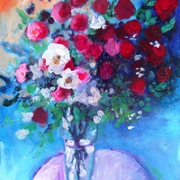 """Abstract Art, Acrylic Floral Painting on Canvas """"Red Roses in a Blue Room"""""""