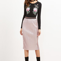Pink Contrast Straight Skirt
