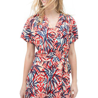Floral Print Playsuits With Wrap Front