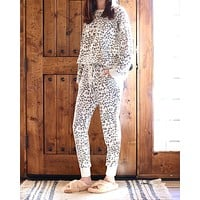 Leopard French Terry Lounge Wear Top and Bottoms Separate in Heather Grey