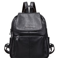 Faux Leather Zippers Pockets Backpack