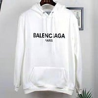 Balenciaga 2019 new wild cotton loose hooded sweater white