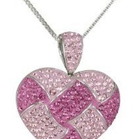 """Sterling Silver and Pink Quilted Heart Pendant Necklace with Swarovski Elements, 18"""""""