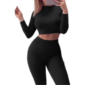 2018 Two Piece Set Women Sets Autumn Spring Sexy Skinny Pants Crop Top Sportsuits Bodycon Outfits Set Tops Sexy Tracksuits GV454