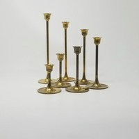 Vintage Graduated Brass Candlestick Holders Set of Seven Tiered Candle Holders Made in Taiwan