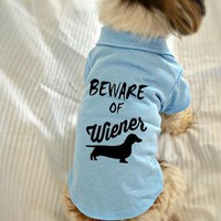 Dachshund Dog Polo T-Shirt. Beware of Wiener Dog Shirt. Cute Dog Quotes. Puppy Small P