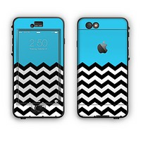 The Solid Blue with Black & White Chevron Pattern Apple iPhone 6 Plus LifeProof Nuud Case Skin Set