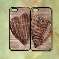 Wood Heart Love Couple Best Friend Case-iPhone 5, 5s, 4s, 4 case, Ipod 5,Samsung GS3, GS4-Silicone Rubber or Hard Plastic Case Phone cover
