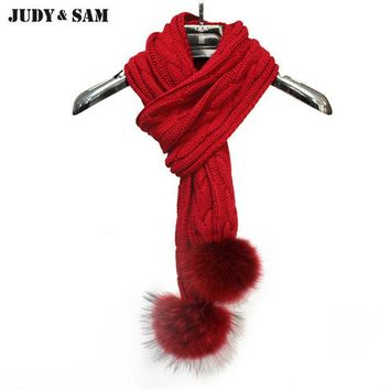 DCCKF4S Hotsale 2015 Gifts Women Knitting Infinity Long Scarf Muffler Scarves Real Raccoon Fur Pom Pom Brand Solid Color Men's Scarf
