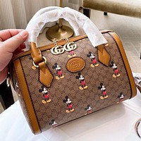 GUCCI & Disney Fashion New More Letter Mouse Print Leather Pillow Shape Shoulder Bag Crossbody Bag Handbag Brown