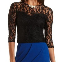 Sweetheart Lace Crop Top by Charlotte Russe - Black