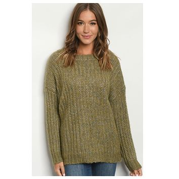 Cozy Oversized Pepper Knit Olive Sweater