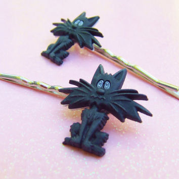 Black Cat Bobby Pins - Plastic Bobby Pins - Halloween Bobby Pins - Kitten Hair Clip - Kitty Cat Bobby Pins - Hair Accessories