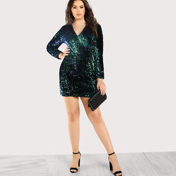 ariel Plus Size Sexy mermaid sequins Dress V Neck Women Bodycon Iridescent Party Sheath