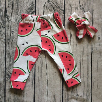 COMBO 3-6 months leggings with bib OR headband (pick your fabric)