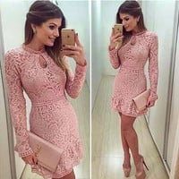 2016 Autumn Fashion Casual Womens Sexy Dresses Party Night Club Dress Fall Long Sleeve Pink Lace Dress Brasil Vestidos De Festa