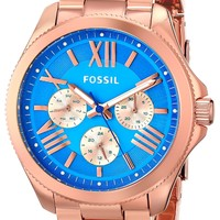 Fossil Women's AM4556 Cecile Multifunction Stainless Steel Watch - Rose Gold-Tone with Blue Dial