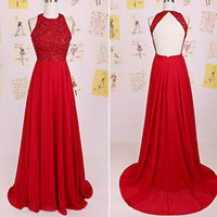 Backless Red Prom Dress,Beadings Prom Dresses,Evening Dresses