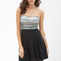 FOREVER 21 Sequined Combo Dress Grey/Mint