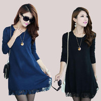 Autumn Winter Knitted Pullover Sweater Long-sleeve Basic Sweater Sexy Women Dresses Female Plus Size Casual Lace Dress