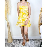 All The Things We Love Leaf Floral Wrap Dress in Mustard