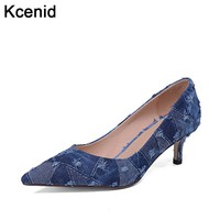 Kcenid Big size 34-42 spring new fashion ladies denim shoes pointed toe high heels women elegant pumps slip on dress party shoes