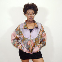 Dusty Pink Abstract-Print Bomber Jacket // 80s // Vintage