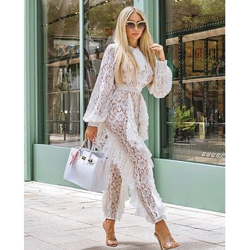 MONTANA sheer lace and ruffle Jumpsuit