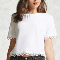 Floral Crochet Trim Boxy Top - Women - Tops - 2000321454 - Forever 21 Canada English