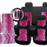 New and Exclusive Mesh Animal Print Accent Interior Set Pink Leopard 11pc Seat Covers Front & Back Lowback, Back Bench, Steering Wheel & Seat Belt Covers - Padded Comfort
