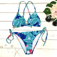 Cupshe Fresh Start Leaves Printing Bikini Set