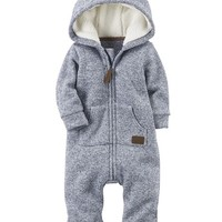 Zip-Up Hooded Sherpa Jumpsuit