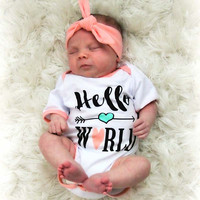 Letter print infant baby rompers newborn baby unisex outfits cute toddler kids clothes with headband