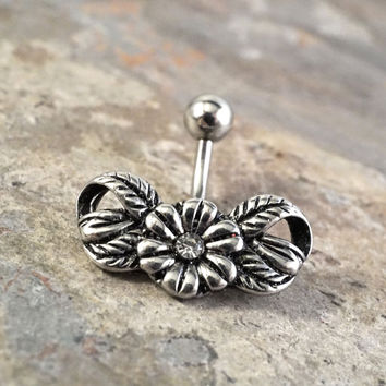 Silver Daisy Belly Button Ring Jewelry