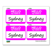 Sydney Hello My Name Is - Sheet of 4 Stickers
