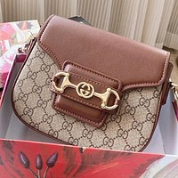 GUCCI New fashion more letter print leather shoulder bag crossbody bag saddle bag Brown