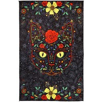3D Sugar Kitty Tapestry Wall Hanging Huge Day Of The Dead Beach Sheet 60x90 Inches