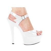 "Ellie Shoes Juliet 6"" Pump W-2"" Platform White Nine"