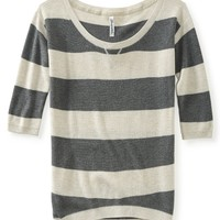 Rugby Stripe Marled Pullover Sweater - Aeropostale