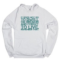 Dwell on Dreams-Unisex White Hoodie