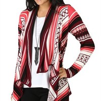 Long Sleeve Southwestern Cozy with Open Drape Front