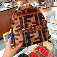 Fendi Printed Faux Fur Backpack Canvas Check Bucket Bag Brown