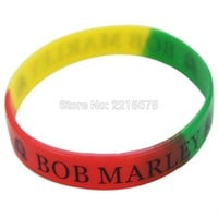 300pcs Bob Marley Rasta silicone wristband rubber bracelets free shipping by DHL express
